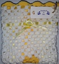 "LOVELY HAND CROCHET BABY DOLL BLANKET:WHITE & YELLOW RIBBONED 18"" x 18"""