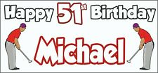 Golf Golfer Mens 51st Birthday Banner x2 Party Decorations Personalised ANY NAME