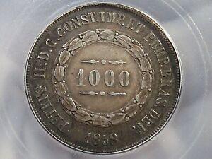 Choice AU 1858 Silver 1000 REIS BRAZIL ICG AU58 KM#465.  #38