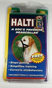 HALTI Headcollar for Dogs Black Size 4 with Training Guide - Stop Pulling