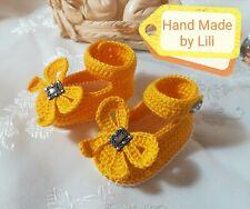♥Babyschuhe♥ Sandalen ♥gehäkelt♥  gelb/weiß ♥ ca.10 cm ♥NEU♥