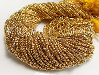 "13"" strand gold coated PYRITE faceted gem stone rondelle beads 2mm"