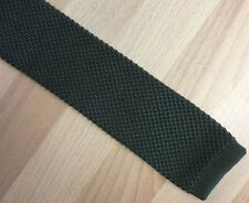 Gents Khaki Green Knitted Tie Mod Revival Casual Flat End 5.5cm Red Herring