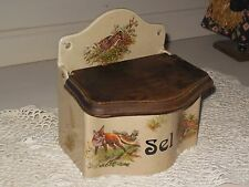 Old French Salt Box - stamped Pf homemade - Game pattern (fox, hare)