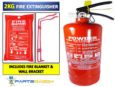 2 KG POWDER FIRE EXTINGUISHER WITH FIRE BLANKET HOME OFFICE CAR KITCHEN