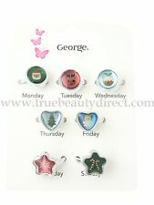 7 GLITTERY CHRISTMAS GIRLS RINGS FOR EACH DAY OF THE WEEK XMAS NOVELTY ANGEL NEW