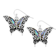 Butterfly Fashionable Earrings - Vine Filigree - Fish Hook - Abalone Paua Shell