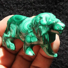 70mm  Natural Green Malachite lion Crystal Carving