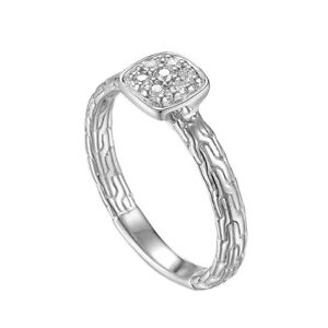 JOHN HARDY Classic Chain Sterling Silver Diamond Station Ring Size 7