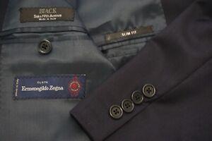 Saks Fifth Avenue Ermenegildo Zegna Navy Blue Silk Blend Slim Fit 2 Pc Suit 42R
