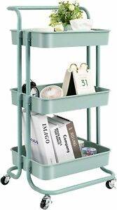 Rolling Utility Cart with Wheels and Handle Storage Organization Shelves Kitchen