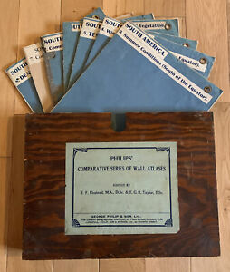 Vintage Philips Comparative Series Of Wall Atlases - South America 1920's