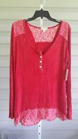 Live Let Live Henley Ribbed Top Crochet Red Shirt Stretchy Large NWT$59