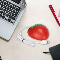 Mini Strawberry Style Optical USB Wired Game Mouse Mice For PC Laptop Plugs Red