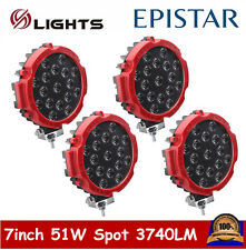 4X 7inch 51W Red LED Work Light Slim Spot Off-road Fog Driving 4WD Boat UTE Jeep