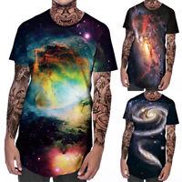 Mens Casual Short Sleeve T-Shirt Slim Fit Blouse Tops Summer Galaxy Printing Tee