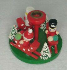 Vintage Christmas Candle Holder Decoration Santa Snowman Soldier Flecked Trees