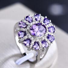 Dazzaling Shiny Holiday Natural Purple Amethyst Gems Silver Woman Ring size 6-10