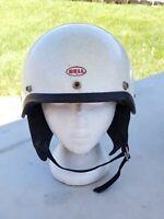 Vintage 1968 BELL SHORTY TOPTEX Motorcycle Helmet Size 7 1/4 White metal flake