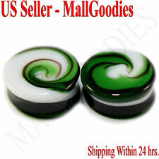 "0185 Double Flare Green White Swirl Glass Saddle Ear Plugs 7/8"" Inch 22mm Spiral"