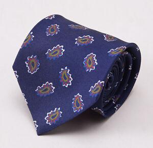 NWT $195 LUCIANO BARBERA Dark Blue-Green-Red Paisley Print Silk Tie Handmade