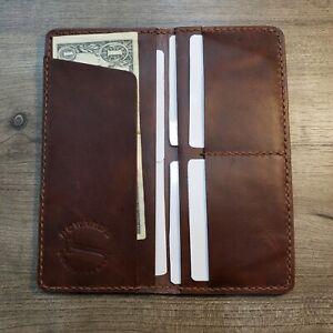 Handmade leather long wallet