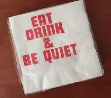 "Vtg CONTEMPO ""Eat Drink & Be Quiet"" PAPER NAPKINS 20 Beverage Size 3-Ply CRAFTS"