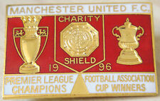MANCHESTER UNITED 1996 league FA cup & Charity Shield winners badge 43mm x 30mm