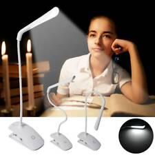 Flexible LED Desk Lamp Read Work Clip-on Bed Table Light USB / Battery Daylight