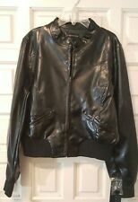 Womans  Black Faux Leather Lined Bomber Moto Jacket Sz L NWT $90 Animal Free