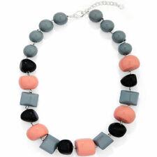 Black, grey & pink chunky bead with irregular shape acrylic choker necklace