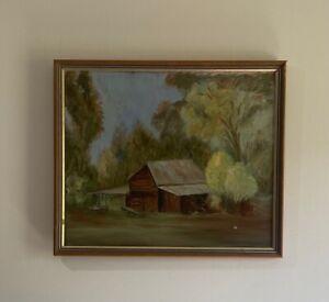 "Unknown Artist Original Acrylic on Board ""Untitled"" Brown Log Cabin in Bush"