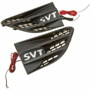 Recon 264283WHBK LED Lighted Fender Emblems 2 Pc Kit Black for Ford SVT Raptor
