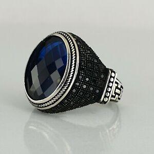 925 Sterling Silver Men Ring Blue Sapphire Gemstone Handmade Ottoman Style