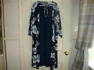 NEW BNWT MOTHER OF THE BRIDE 2 PIECE DRESS LONG JACKET SIZE 18 NAVY WHITE