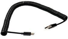 USB Typ A auf USB Typ C 3.1 Männlich Spiralkabel (1 Meter) - Schwarz