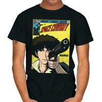 Space Cowboy Bebop Spike Anime Daredevil Comic Parody Black T-shirt