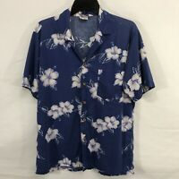Barefoot in Paradise Hawaiian Aloha Shirt Blue Floral Size M  Cotton Made in USA