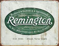 Remington Guns Rifles Hunting In All Weather Logo Tin Sign 13 x 16in