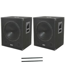 QTX Sound QT15SA Active Powered Subwoofers Subs PAIR & 80cm Steel Speaker Poles