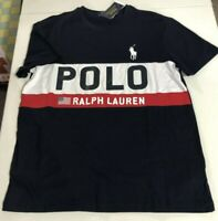Ralph Lauren Polo Men's SZ M USA Flag T-Shirt Navy Blue Color Block Spell Out