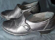 Clarks Ingalls Ocean Black Noir Leather Comfort Shoes Loafer Heels US 10 M