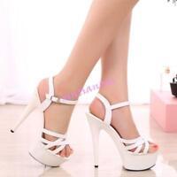 Lady's Open Toe Platform High Heel Stiletto NIghtclub Sandals Shoes Ankle Strap