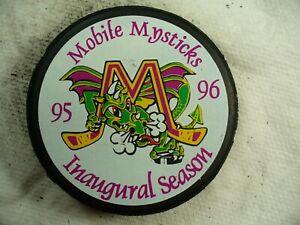 ECHL Mobile Mysticks '95-96 Inaugural Season Tram Logo Hockey Puck Collect Pucks
