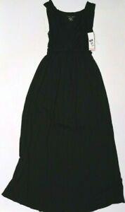 New Women's Maternity V-Neck Nursing Friendly Maxi Dress Black NWT Size XXL