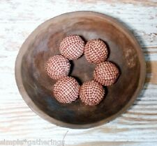 "Rag Balls BARN RED CREAM 1.5"" Set of 6 Bowl Jar Fillers Primitive Check Plaid"
