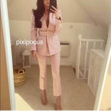 NWT Zara SET Gingham Belted Blazer + Pant Suit Set Pink / White Check SMALL