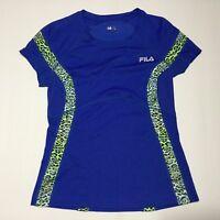 Fila Womens Shirt Athletic Running Sport Short Sleeve Top Blue Size M