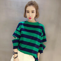 Women's Korean Style Cotton Split Sleeve Casual Stripe Pattern Top Blouse