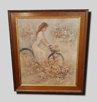 Mädchen mit Fahrrad auf Sommerwiese.  Antikes Jugendstil Ölgemälde Sommerkleid